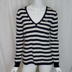 Lacoste Navy Blue Off White Stripe Sweater